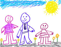 Child like drawing of family. Child's drawing of herself with mom & dad on a sunny day Royalty Free Stock Photo