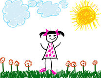Child like drawing of girl. Child like drawing of happy girl in a field Royalty Free Stock Photography