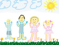 Child like drawing of a happy family. Outside in summer Royalty Free Stock Image