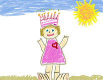 Child like drawing of herself. As a princess in a sunny day Stock Photography
