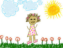 Child like drawing of herself. (dark complection Royalty Free Stock Photos