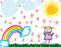 Child like drawing of herself. Outside Stock Image