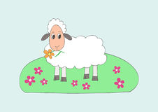 Child like drawing of little sweet sheep Stock Photo