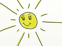 Child like drawing of a sun Stock Photo