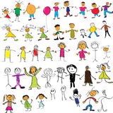Child like drawings. Collection of child like vector colour drawings Stock Photos