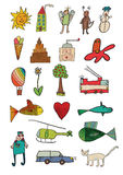 Child like icons. Child like hand drawing illustration Royalty Free Stock Image