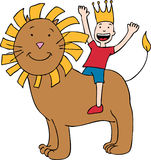 Child on Lion. Cartoon image of a child riding a lion Royalty Free Stock Photography
