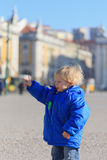 Child in lisbon. Child on placa de comercio in Lisbon, Portugal Royalty Free Stock Photography