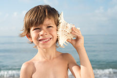 Child listening conch looking up Royalty Free Stock Photos