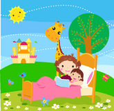 Child listening his mother read a storytelling book. Illustration of child listening his mother read a storytelling book Royalty Free Stock Images