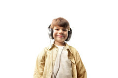 Child listening to music Stock Photo