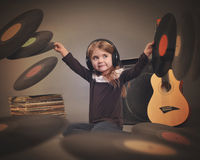 Child Listening to Music Vintage Records Royalty Free Stock Image