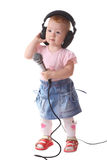 The child listens to music Stock Photo
