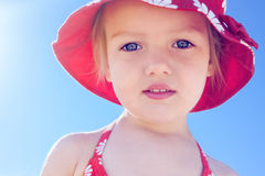 Child little girl beautiful sun beach vacation. Backlight close up Royalty Free Stock Photography