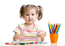 Child little girl draws with pencils Stock Photography