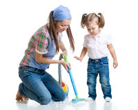 Child little girl and mom cleaning room. Isolated Royalty Free Stock Image
