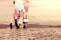 Child little girl riding bike in park Stock Photos