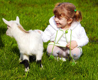 Child and little goat Stock Photography
