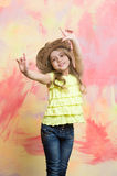 Child or little happy smiling girl in cowboy hat Royalty Free Stock Photo
