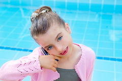 Child little indented girl talking mobile phone Stock Photo