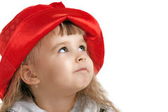 Child in Little Red Riding Hood portrait. Little Red Riding Hood child costume portrait isolated Stock Images