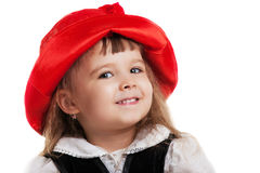 Child in Little Red Riding Hood portrait isolated Royalty Free Stock Photography
