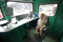 Child in a locomotive Stock Photos