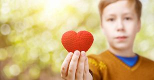 A boy is holding a heart in his hand royalty free stock photo