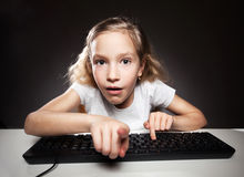 Child looking at a computer Stock Photos