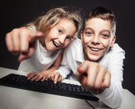Child looking at a computer royalty free stock photo