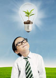 Child looking at ecology concept Royalty Free Stock Images