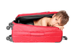 Child looking out red suitcase. Stock Images