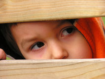 Child looking through outside royalty free stock images