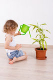 Child looking after the plant. Royalty Free Stock Photos