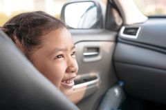 Child looking and smiling with happiness stock image