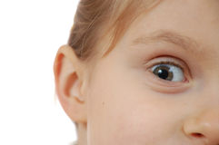 Child looking suspiciously with big pupil. Stock Photos