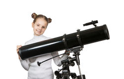 Child Looking Into Telescope Star Gazing Little girl Royalty Free Stock Photos