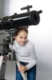Child Looking Into Telescope Star Gazing Little girl Royalty Free Stock Images
