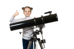 Child Looking Into Telescope Star Gazing Little girl Royalty Free Stock Photography