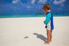 Child looking to crab at tropical beach with overwater bungalows. On Maldives island stock photos