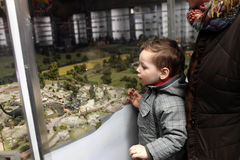 Child looking at toy zoo Royalty Free Stock Images