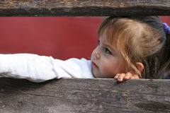 Child looking through wooden fence. Adorable child looking left through wooden fence and pointing out with her hand Stock Images