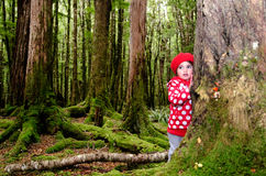 Child lost in the woods. Little girl lost in the forest. face expression portrait Royalty Free Stock Image