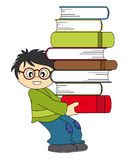 Child with a lot of books to study Stock Images