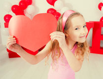 Child. In love. Decoration for celebration. Valentine's, mother's day or weddings Royalty Free Stock Photo