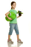 Child love environment. Concept child with flower love environment stock photo