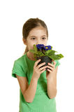 Child love environment. Concept child with flower love environment stock images