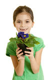 Child love environment. Concept smiling child with flower love environment royalty free stock images
