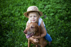 Child love his dog. Outdoor portrait: Child love his Hungarian Vizsla Royalty Free Stock Photos