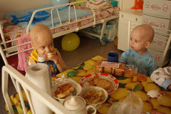 Child lunch in pediatric onco-department. Tomsk, Russia - August 22, 2009: Unidentified child lunch in pediatric oncohematological department on Tomsk Regional Stock Photography